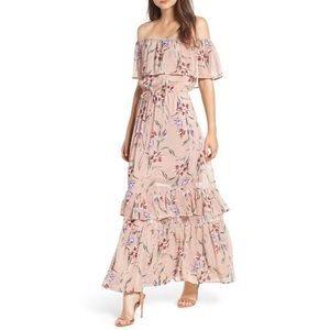 Love, Fire off the shoulder maxi dress